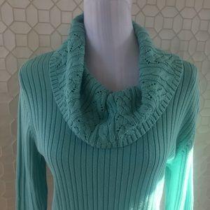 Croft & Barrow Cowl Neck Turquoise sweater XL